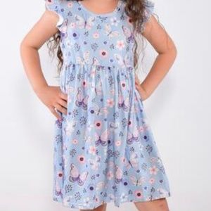 Other - Light Blue Butterfly 🦋 Dress with Ruffle Sleeve